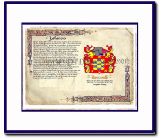 Belasco Coat of Arms/ Family History Wood Framed