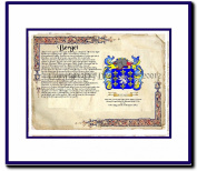 Berget Coat of Arms/ Family History Wood Framed