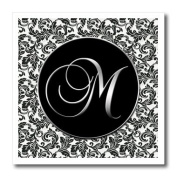 Doreen Erhardt Monogrammed Collection - Letter M - Black and White Damask - Iron on Heat Transfers