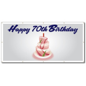 Happy 70th Birthday Cake - 3' x 6' Vinyl Banner