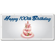 Happy 100th Birthday Cake - 4' x 8' Vinyl Banner
