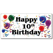 Happy 10th Birthday - 4' x 8' Vinyl Banner