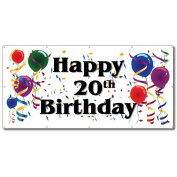 Happy 20th Birthday - 4' x 8' Vinyl Banner