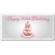 Happy 20th Birthday Cake - 4' x 8' Vinyl Banner