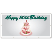 Happy 80th Birthday Cake - 4' x 8' Vinyl Banner