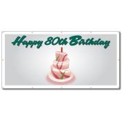 Happy 80th Birthday Cake - 4' x 8' Vinyl Banner
