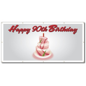 Happy 90th Birthday Cake - 4' x 8' Vinyl Banner