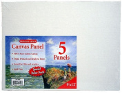 Pre-primed Canvas Panels ~23cm x 30cm Boards ~Pack of 5 Boards