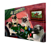 House of Pugs Dogs Playing Poker Canvas 16 x 20