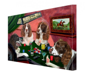 House of English Springer Spaniels Dogs Playing Poker Canvas 16 x 20