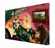 House of Pomeranians Dogs Playing Poker Canvas 16 x 20