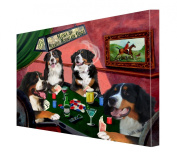 House of Bernese Mountain Dogs Playing Poker Canvas 16 x 20