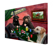 House of Labradors Dogs Playing Poker Canvas 16 x 20