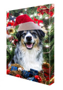 Australian Shepherd Dog Christmas Canvas 16 x 20