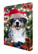 Australian Shepherd Dog Christmas Canvas 16 x 20