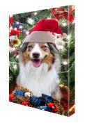 Australian Shepherd Red Merle Dog Christmas Canvas 16 x 20