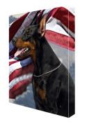 Doberman Pincher Dog Canvas 16 x 20 Patriotic