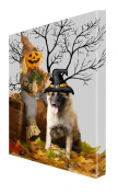 German Shepherd Dog Halloween Canvas 16 x 20