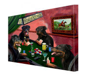 House of Rottweillers Dogs Playing Poker Canvas 16 x 20
