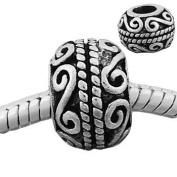 Antique Silver Scrolls Charm Spacer Bead Compatible with Pandora, Troll, Chamilia, Biagi and Other Italian Jewellery
