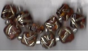 10 pc Amber Square with Metallic Overlay Beads - Fashion Glass by Cousin - #3481701