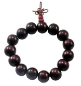 12mm LUOS Tibetan Buddha Prayer Mala Black Wood Bracelet -W019