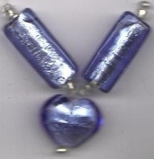 3 pc Blue Silver Foil Heart Pendant/Beads - Fashion Glass by Cousin - #3475302