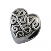 Love Heart Spacer Charm Bead Compatible with Pandora, Chamilia, Troll, Biagi and Other Italian Jewellery
