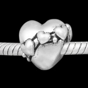 "Antique Silver ""Hearts"" Compatible with Pandora, Chamilia, Troll, Biagi and Other Italian Jewellery"