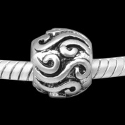 "Antique Silver ""Curls"" Compatible with Pandora, Chamilia, Troll, Biagi and Other Italian Jewellery"