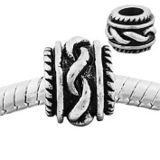 "Antique Silver ""Twisted"" Compatible with Pandora, Chamilia, Troll, Biagi and Other Italian Jewellery"