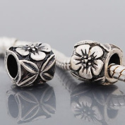 """Antique Silver """"Hibiscus Flower"""" Compatible with Pandora, Chamilia, Troll, Biagi and Other Italian Jewellery"""
