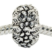"Antique Silver ""Flowers and Leaves"" Compatible with Pandora, Chamilia, Troll, Biagi and Other Italian Jewellery"