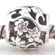 """Antique Silver """"Flowers and Vines"""" Compatible with Pandora, Chamilia, Troll, Biagi and Other Italian Jewellery"""