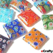 "30 Millefiori Glass Beads 1/2"" 12mm Squares Rainbow Mix DIY Jewellery Earrings"