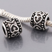 "Antique Silver ""Tangled Hearts"" Compatible with Pandora, Chamilia, Troll, Biagi and Other Italian Jewellery"
