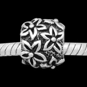 "Antique Silver ""Flowered"" Compatible with Pandora, Chamilia, Troll, Biagi and Other Italian Jewellery"