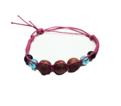 Asian Hippie Wristband Pink Line with Wood Ball Thai Bracelet Vintage Style Fashion