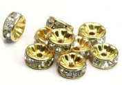 100 Pcs Czech Crystal Rondelle Spacer Bead Gold Plated 8mm Crystal White