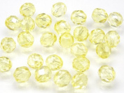 25pcs Czech Fire-Polished Faceted Glass Beads Round 8mm Light Yellow Transparent