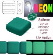 12 pcs Czech Glass Square Beads 2 Holes ESTRELA NEON (UV Active) 8x8 mm Dark Green