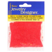 11/0 Glass Seed Beads, Transparent Red, 20 Gramme Pkg