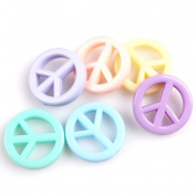Colourful Charms Peace Acrylic Spacer Beads 100