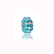 Charm Factory Turquoise Blue Rhinestone Bead