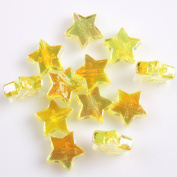 Yellow AB Colour Plated Star Acrylic Spacer Beads Charms Loose Beads 11mm