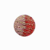 Nirvana Beads Czech Glass Buttons, 074 - Indented Rose-Red 22 mm