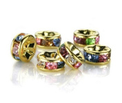 eFuture(TM) Colourful 8mm Crystal Gold Plated Edge Rondelle Spacer Beads -1Bag(100Pcs) +eFuture's nice Keyring
