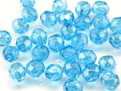 25pcs Czech Fire-Polished Faceted Glass Beads Round 8mm Blue Transparent