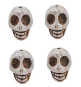 Carved White Turquoise Skull Beads 21 x18mm