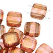 Czech Glass 2-Hole Square Beads 6mm 'Rose / Gold Topaz Lustre'